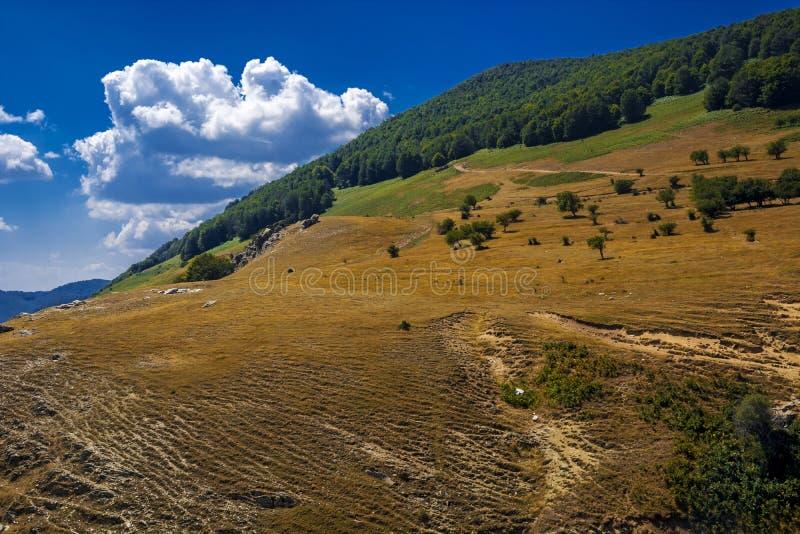 Żółta góra i jaskrawy niebieskie niebo obraz royalty free