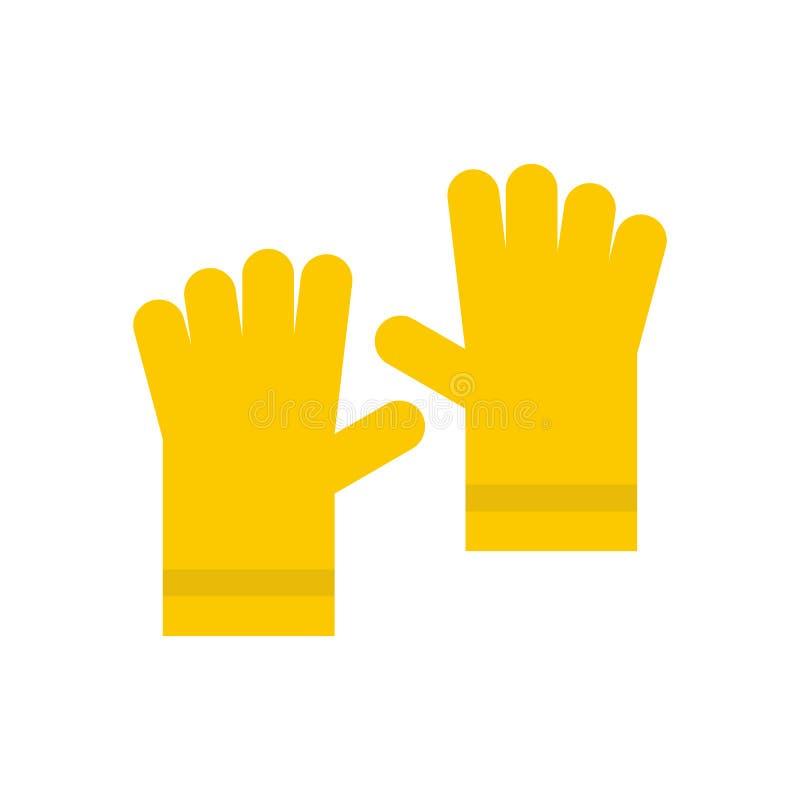 Żółta gumowa rękawiczki ikona, mieszkanie styl ilustracja wektor