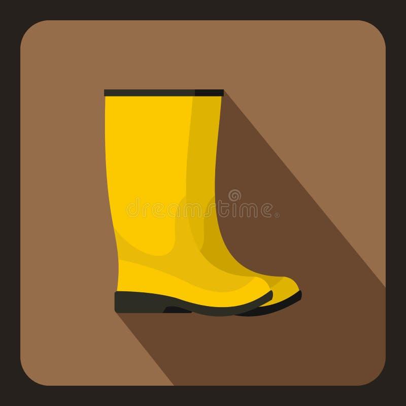 Żółta gumowych butów ikona, mieszkanie styl ilustracja wektor
