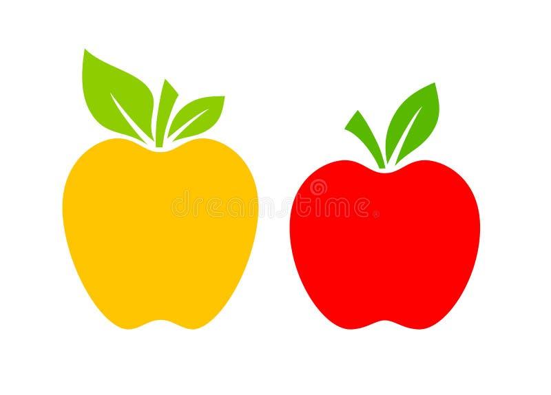 Żółta i czerwona jabłczana wektorowa ikona ilustracji
