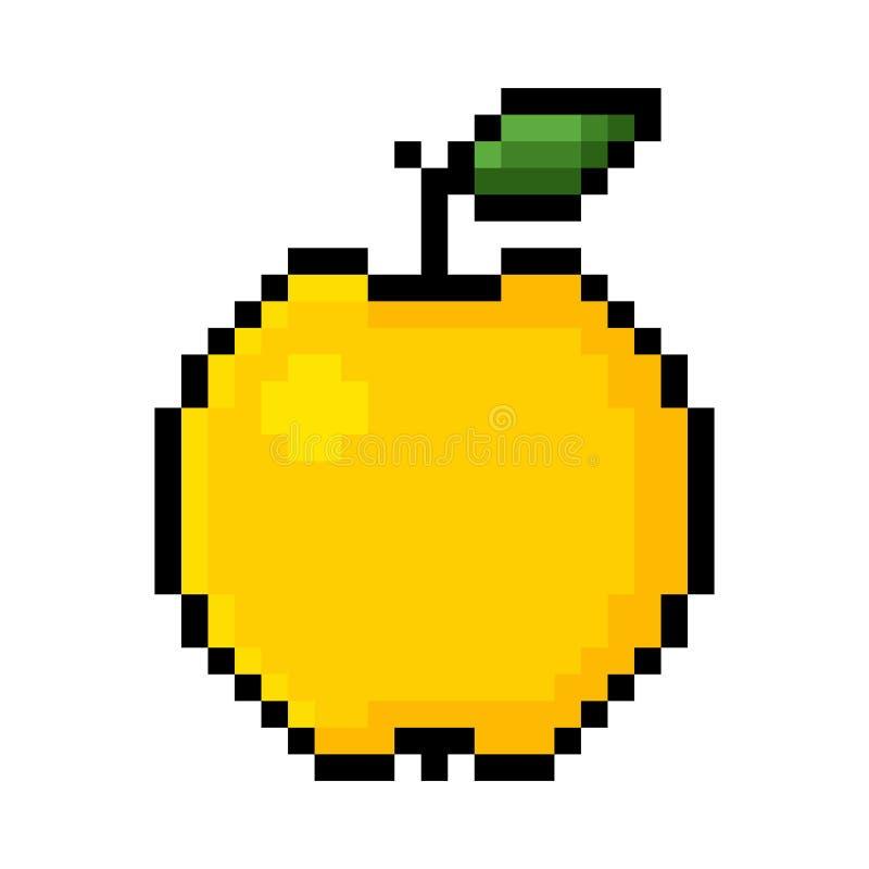 Żółta jabłczana piksel sztuka ilustracja wektor