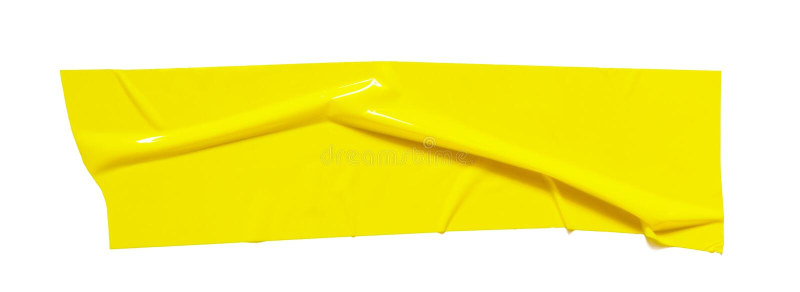 Żółta kleista scotch taśma Drzejący zmięty sellotape kawałek odizolowywający na białym tle obrazy royalty free