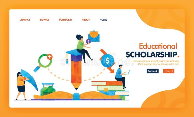 Żółta koncepcja wektora na stronie stypendium edukacyjnego z płaskim bohaterem i ikoną rysunku projekt strony głównej może być uż royalty ilustracja