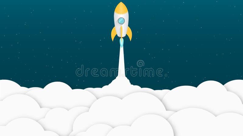 Żółta kreskówki rakieta Tło dla twój projektów białe chmury Reklamowy plakat dla miejsca również zwrócić corel ilustracji wektora ilustracji