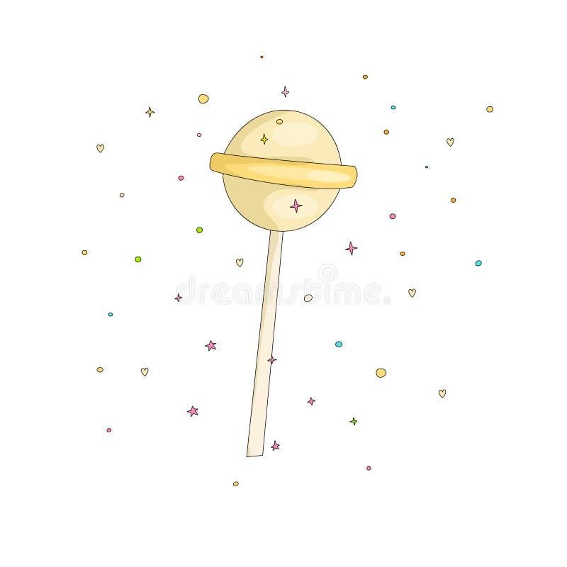 Żółta lizak zabawy kreskówki wektoru ikona Słodkiego round lollypop cartooning ilustracja z dekoracją na bielu royalty ilustracja