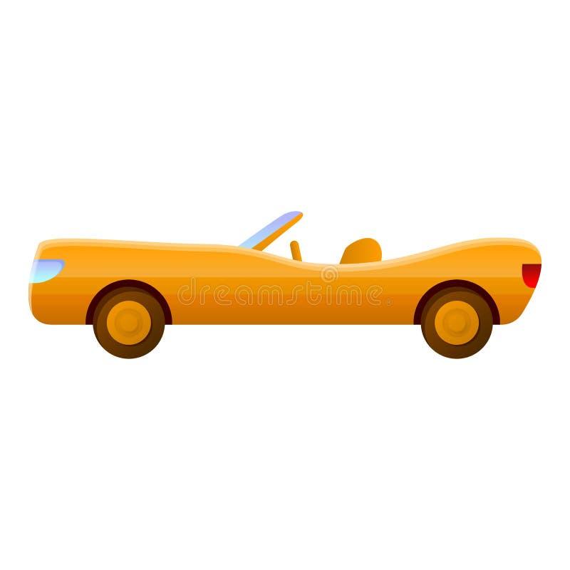 Żółta luksusowa kabriolet ikona, kreskówka styl royalty ilustracja
