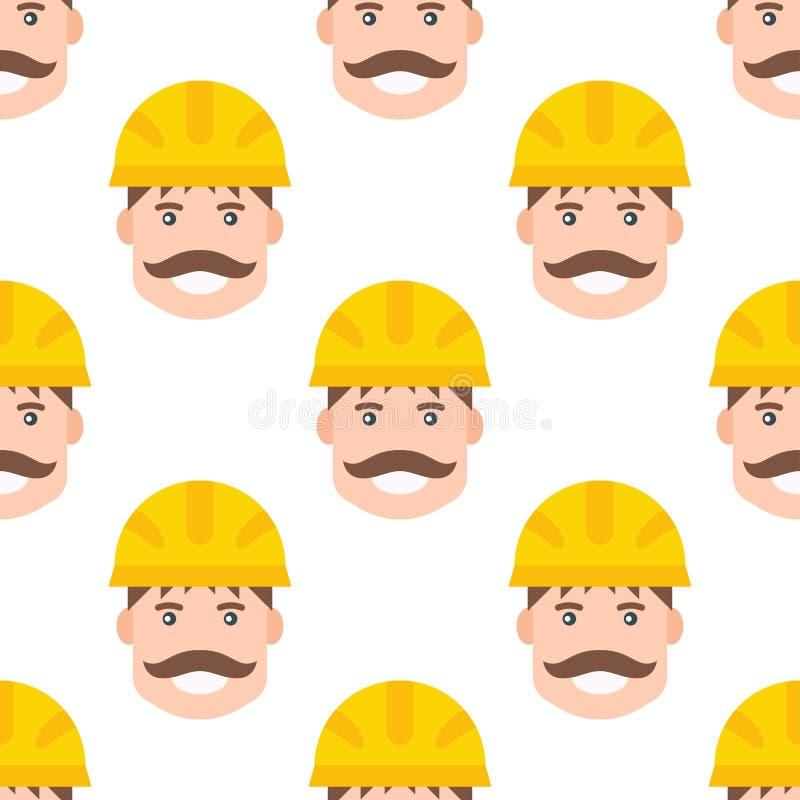 Żółta plastikowa hełma lub budowy bezpieczeństwa ciężkiego kapeluszu inżyniera głowy bezpiecznego wyposażenia bezszwowa deseniowa royalty ilustracja
