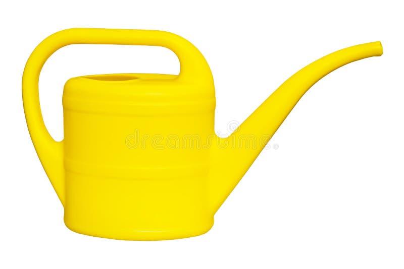 Żółta plastikowa podlewanie puszka dla nawadniać rośliny odizolowywać na białym tle zdjęcie royalty free