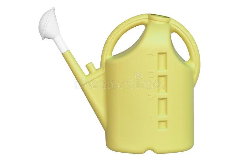 Żółta plastikowa podlewanie puszka odizolowywająca na bielu obrazy stock
