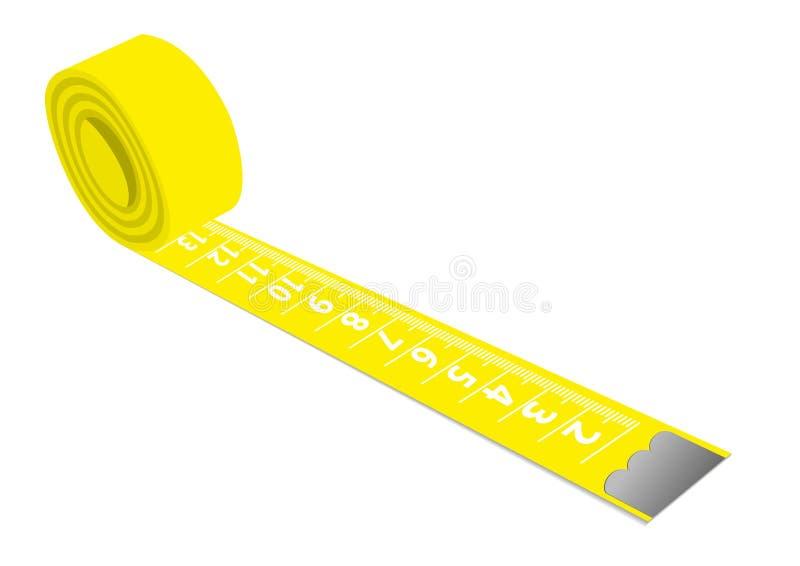 Żółta pomiarowa taśma odosobniony o ilustracja wektor