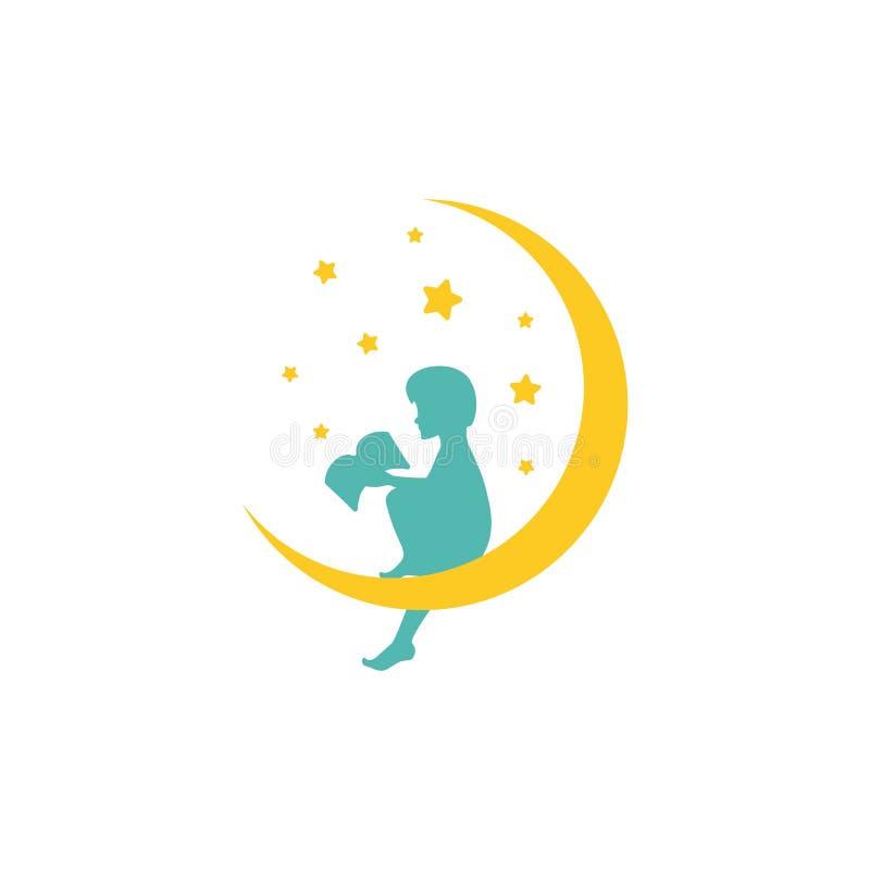 Żółta przyrodnia księżyc, gwiazdy i chłopiec z książką Żartuje fantazję Odizolowywający na bielu Płaski projekt ilustracji