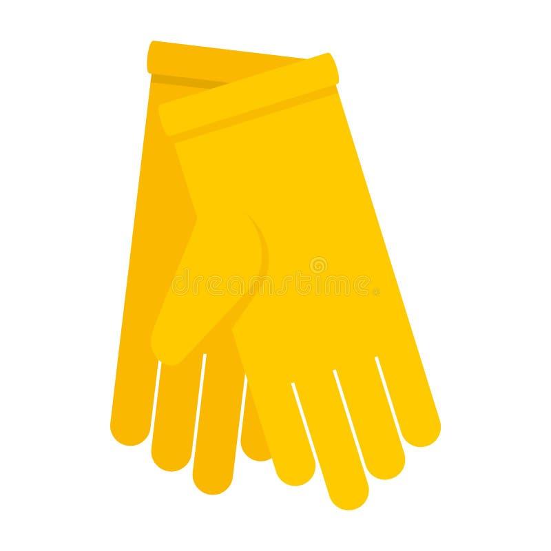 Żółta rękawiczki ikona, mieszkanie styl ilustracja wektor