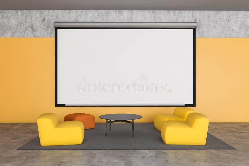 Żółta sala biurowa z plakatem ilustracji
