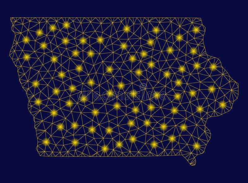 Żółta siatki sieci Iowa stanu mapa z raców punktami ilustracji