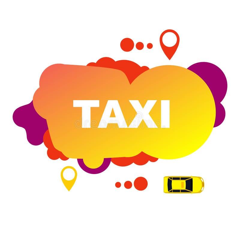 Żółta taxi ulotka od abstrakcjonistycznych elementów ilustracja wektor