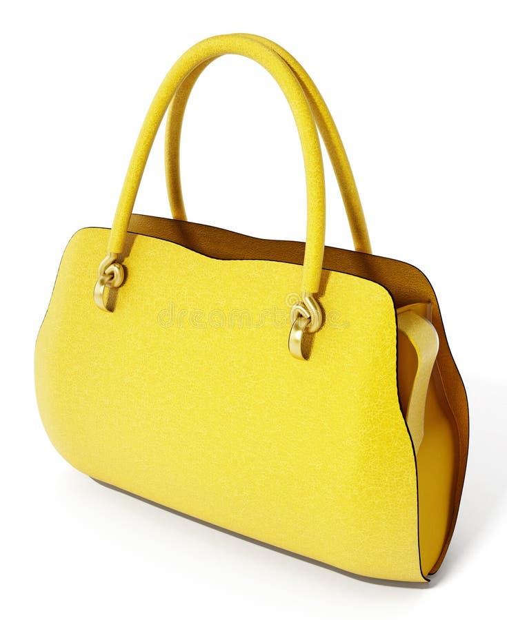 Żółta torebka odizolowywająca na białym tle ilustracja 3 d royalty ilustracja