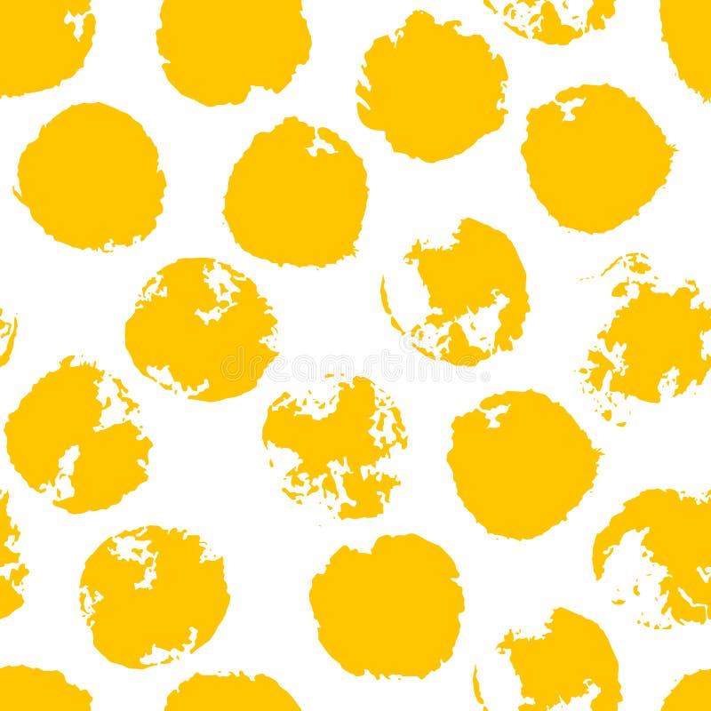 Żółta Upaćkana Grunge polki kropka Grungy kropkowany bezszwowy wzór ilustracji