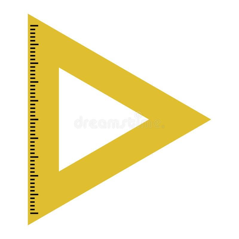 Żółta władca trójboka ikona wektor royalty ilustracja