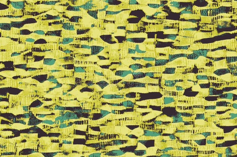 Żółte afrykańskie tkaniny z wzorami i barwionymi teksturami ilustracja wektor
