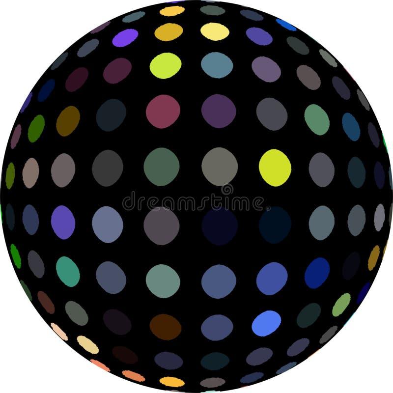 Żółte błękitnych szarość kropki na czarnej sfery 3d grafice royalty ilustracja
