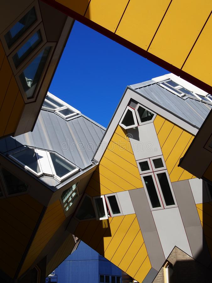 Żółte domy sześcienne w Rotterdamie Holandia obrazy royalty free