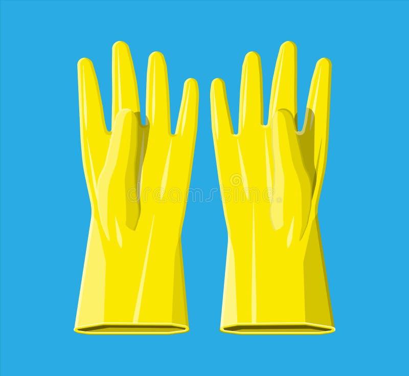 Żółte gumowe rękawiczki royalty ilustracja