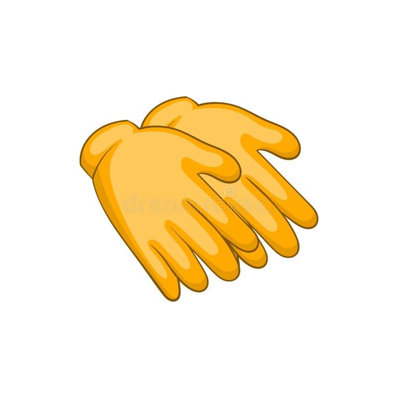 Żółte gumowe rękawiczki ikony, kreskówka styl royalty ilustracja