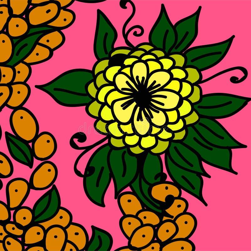 Żółte kwiatu i pomarańcze jagody ilustracja wektor