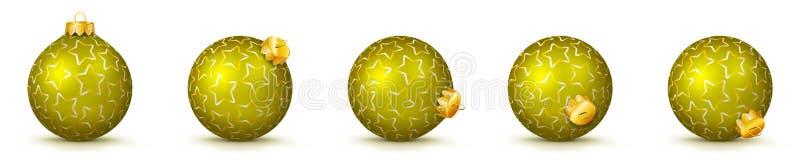 Żółte Wektorowe Bożenarodzeniowe piłki Ustawiać z teksturą - Mas Baubles royalty ilustracja
