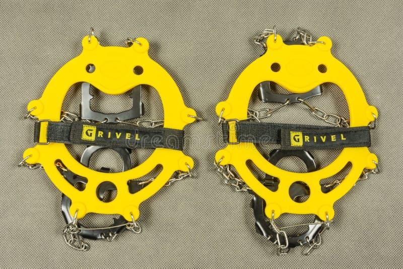 Żółtego antego śliskiego przyrządu mini crampon zdjęcie royalty free