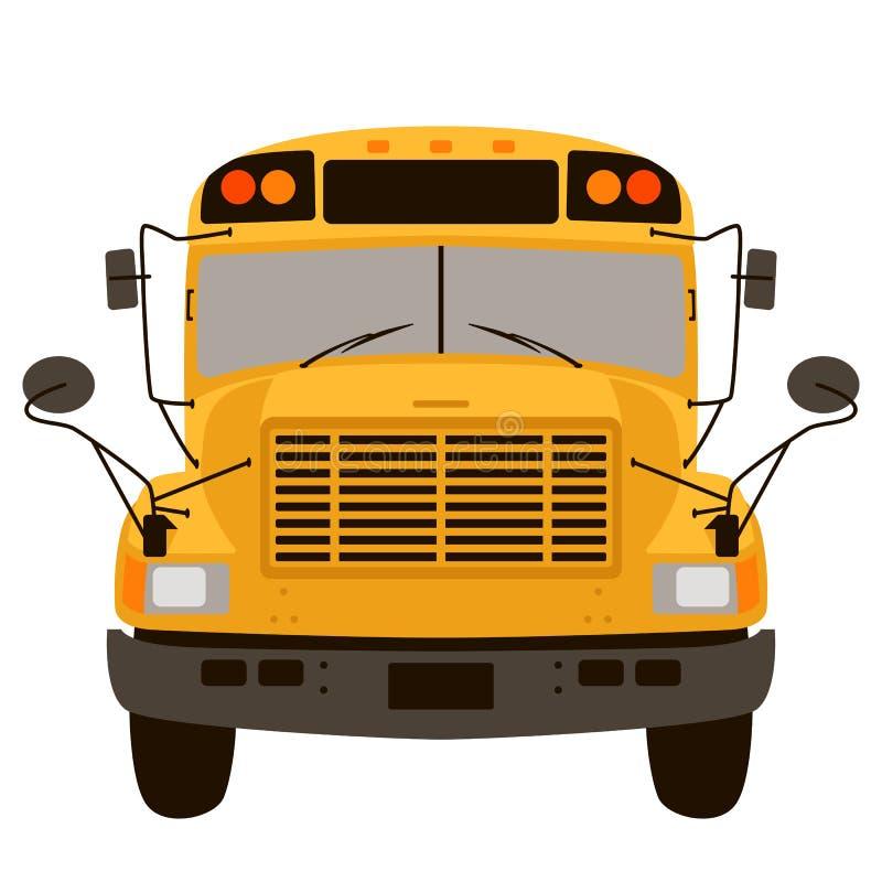 Żółtego autobusu szkolnego mieszkania stylu wektorowy ilustracyjny przód ilustracja wektor