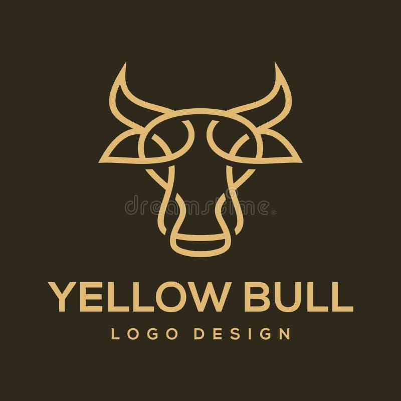 Żółtego byka logo projekta wektorowa inspiracja royalty ilustracja