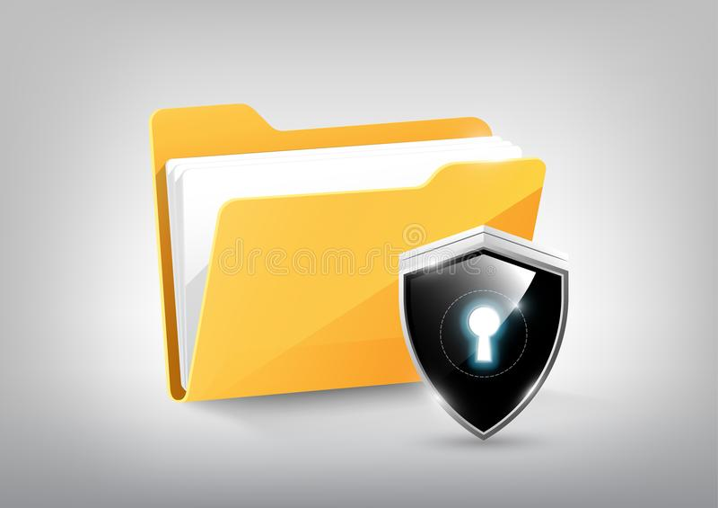 Żółtego dokumentu skoroszytowej adresowej ikony odizolowywająca i nowożytna nowoczesna technologia osłona kędziorka osłona na bie ilustracji