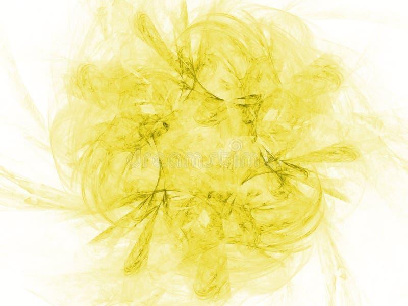 Żółtego koloru fractal stonowana monochromatyczna abstrakcjonistyczna ilustracja Zatarty tło fotografia stock