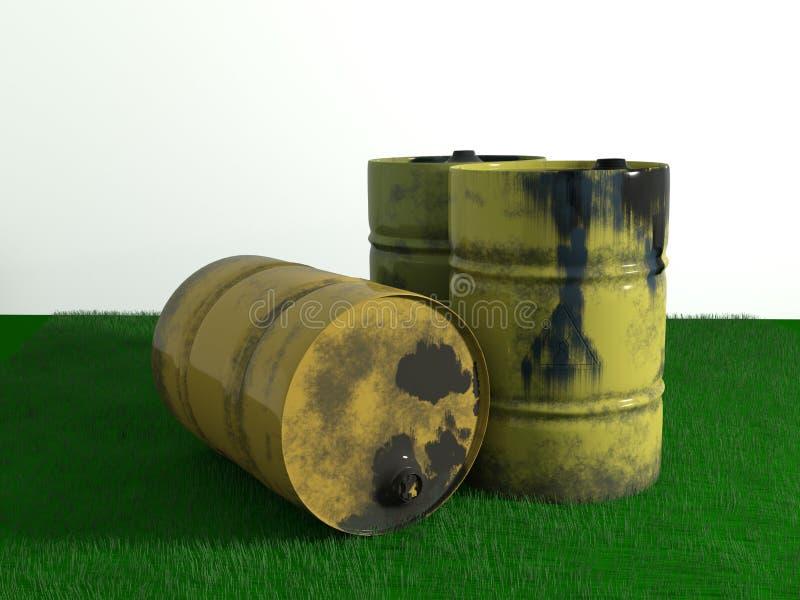 Żółtego metalu baryłki olej na zielonej trawie, starej brudzi odosobnionego na wh ilustracji