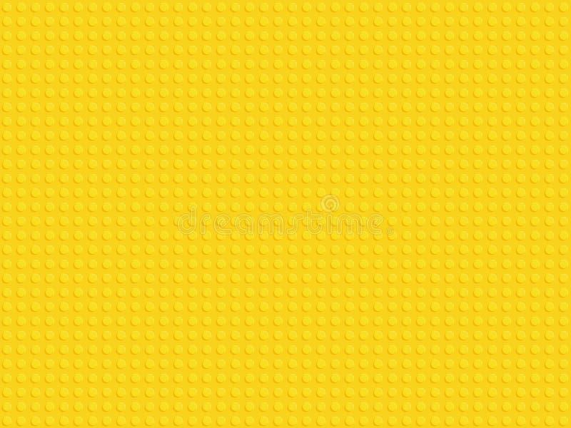 Żółtego plastikowego konstruktorów bloków talerza bezszwowy deseniowy płaski projekt ilustracja wektor