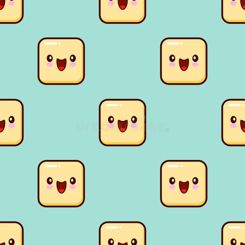Żółtego uśmiech twarzy Bezszwowego Deseniowego tła emoticons Śliczny emoji ilustracji