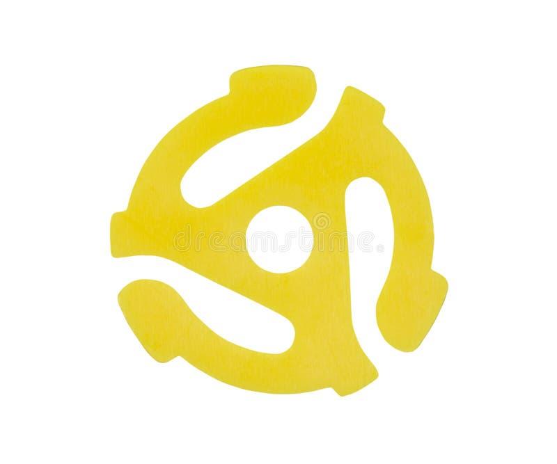 Żółtego winylu 45 RPM Dokumentacyjny adaptator zdjęcia royalty free