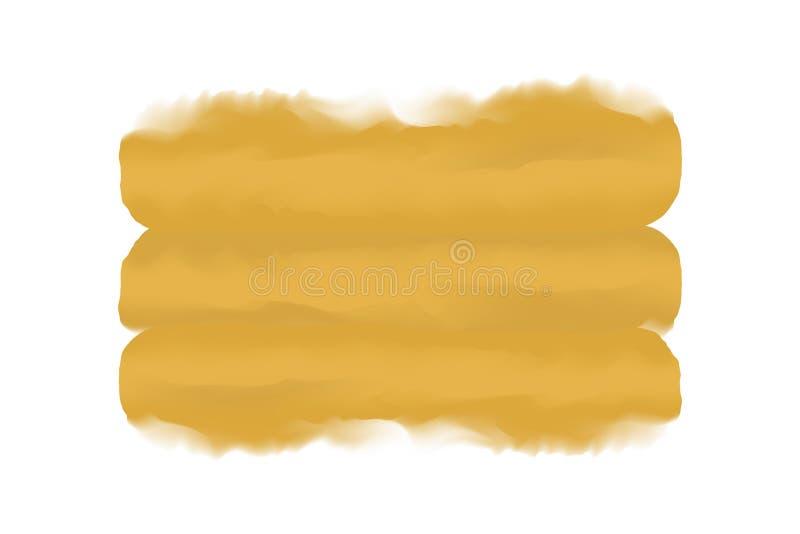 Żółtego złota farby muśnięcia cyfrowy uderzenie w pojęcie wodnego koloru stylowej tekstury ręka rysującym białym tle, sztuka wodn ilustracja wektor