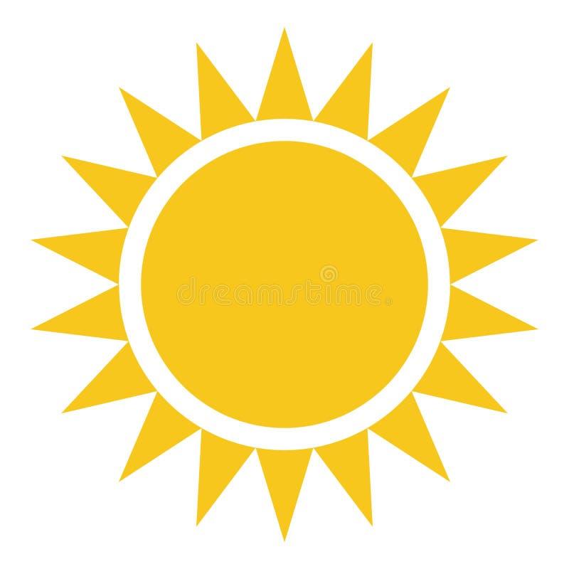 Żółtego złota słońca ikona odizolowywająca na tle Nowożytny płaski pictogr ilustracji
