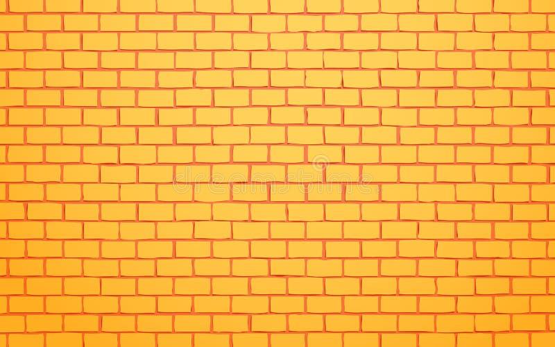 Żółtej ściany z cegieł wektorowy ilustracyjny tło ilustracja wektor