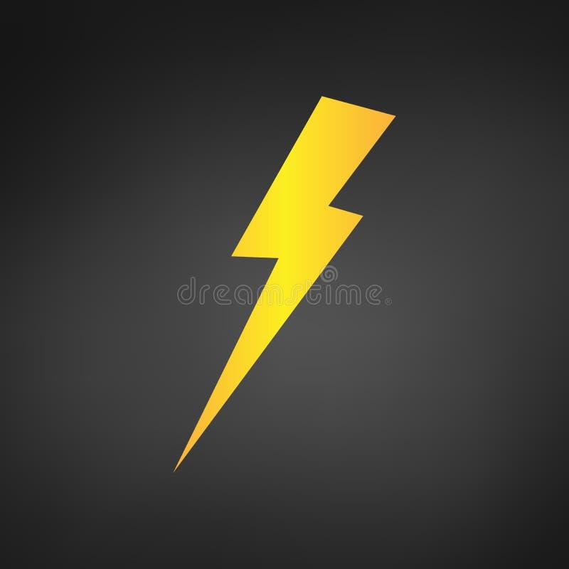 Żółtej błyskawicy lub ładować ikony wektor Prosty płaski symbol Żółta piktogram ilustracja na czarnym tle royalty ilustracja