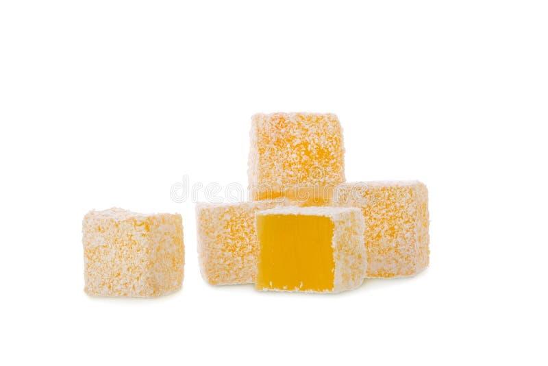 Żółtej cytryny Turecki zachwyt odizolowywający na białym tle obraz royalty free