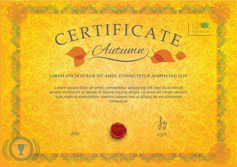 Żółtej jesieni oficjalny świadectwo Grunge tło Liście, opłatek, ornamentacyjny giloszują granicę ilustracja wektor