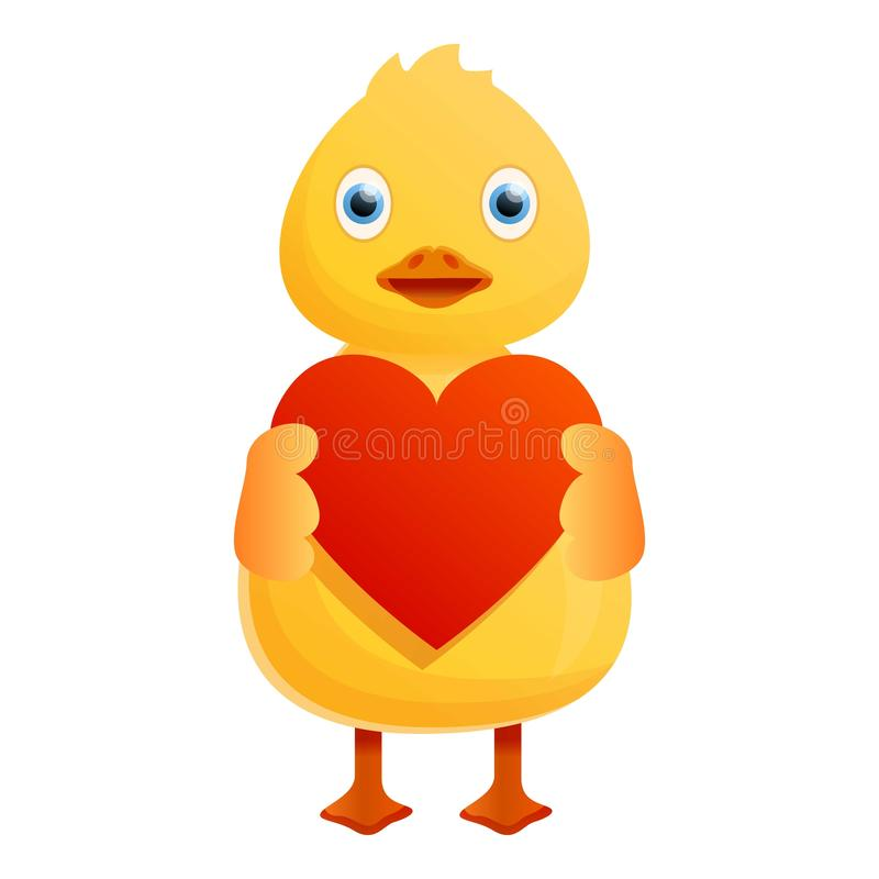 Żółtej kaczki czerwona kierowa ikona, kreskówka styl ilustracja wektor