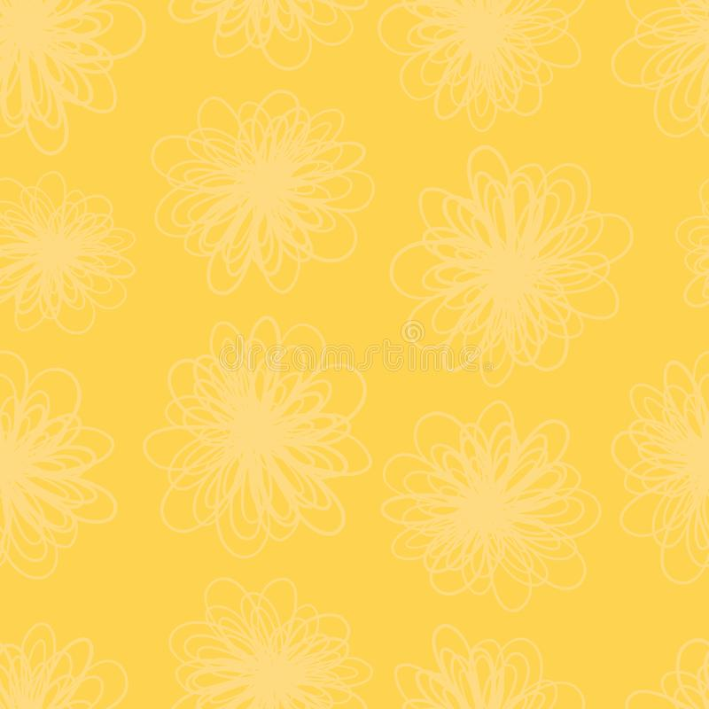Żółtej kwiat tekstury bezszwowy wektorowy tło Wielostrzałowy wzór abstrakt kwitnie w żółtych odcieniach Subtelny ulistnienie ilustracji