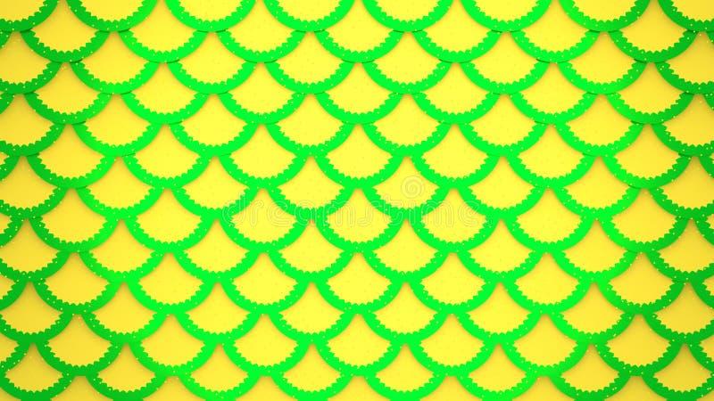 Żółtej zieleni rybich skal jaskrawe komórki deseniują morską tła 3D ilustrację royalty ilustracja
