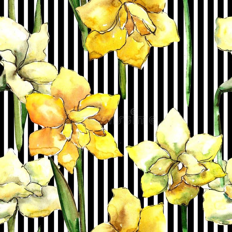 Żółty amarylek Bezszwowy tło wzór Tkanina druku tapetowa tekstura ilustracja wektor