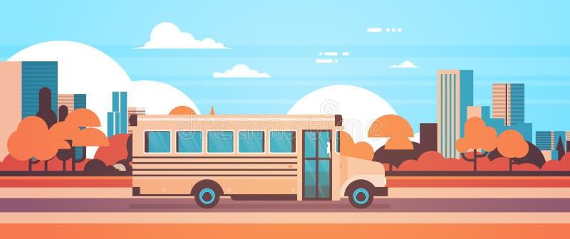 Żółty autobus szkoła ucznie z powrotem odtransportowywa pojęcie na jesień pejzażu miejskiego tła mieszkania sztandarze ilustracji