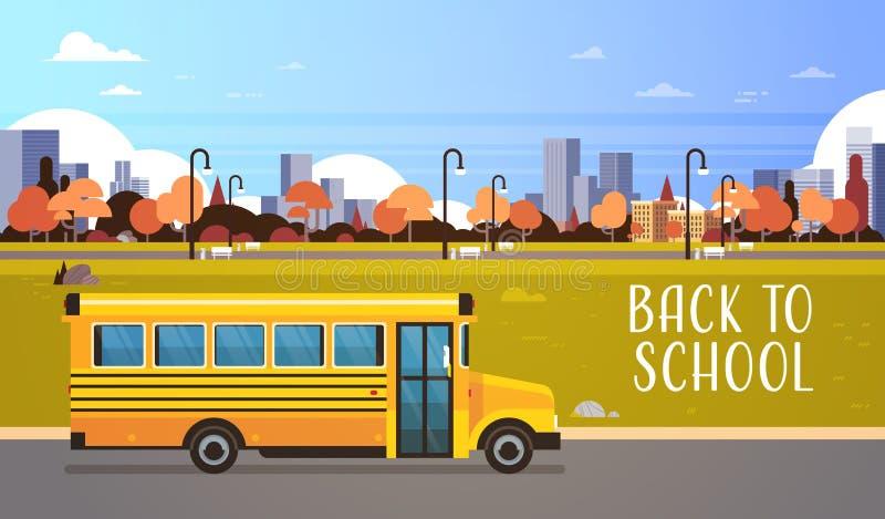 Żółty autobus szkoła ucznie z powrotem odtransportowywa pojęcie na jesień pejzażu miejskiego tła mieszkaniu horyzontalnym royalty ilustracja